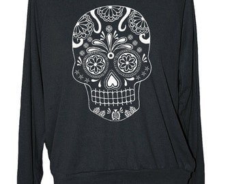 Womens SUGAR SKULL sweatshirt -- american apparel long sleeve shirt S M L -- (5 Color Options) z skip n whistle
