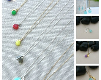CHOOSE Your CHARM Gemstone Briolette Necklace- Sterling Silver-Bridemsaid Gift-Summer Fashion-Custom Necklace