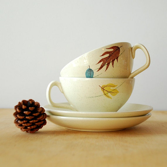 Franciscan Ware Autumn Leaves Teacup and Saucer Set