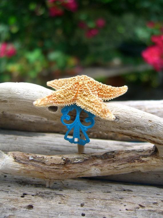 Starfish Filigree Ring-OCEAN BLUE-Mermaid Costume, Little Mermaid, Mermaid Halloween, Beach Weddings, Unique Gifts, Mermaid Costumes