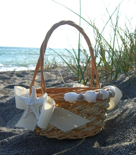 Beach Wedding Gift Basket Ideas : Beach Wedding Flower Girl Basket-SEASHELLS and STARFISH, Weddings ...