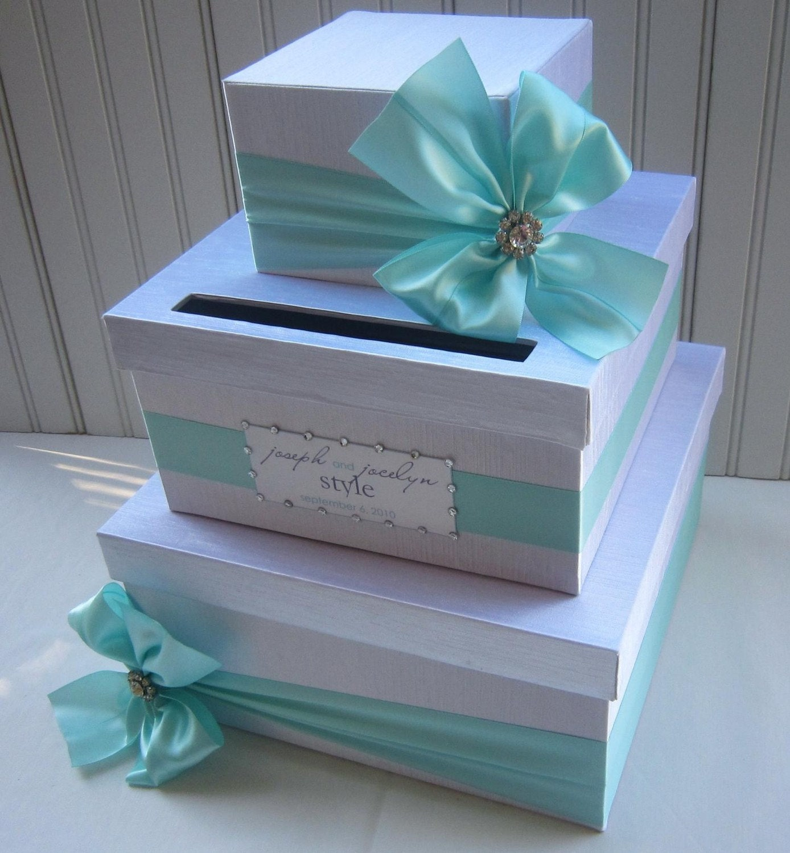 Wedding Card Box: Wedding CARD BOX Money Holder Aqua Tiffany Blue White Quality