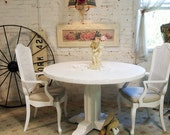 Painted Cottage Chic Shabby White Round Dining Table TBL253