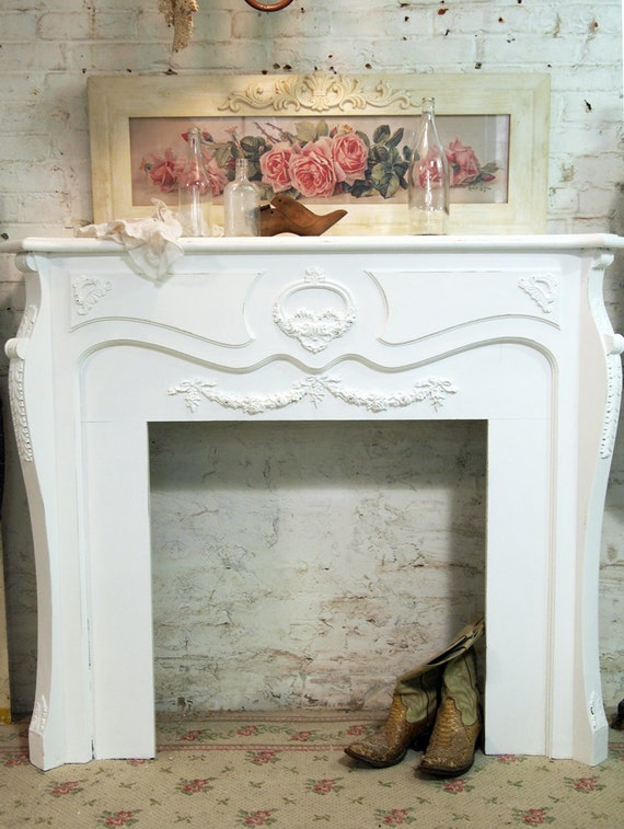 Painted Cottage Chic Shabby White Vintage French Mantel VF297