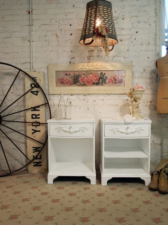 Painted Cottage Chic Shabby White  Pair of French Night Tables NT480