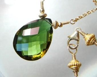 Green Necklace, Bi Color Citrine, Color Change Gemstone, Gold Necklace, AAA Gemstone Necklace