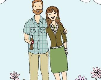 Custom Cartoon Portrait- Family Portrait- Illustration- digital file- 1-2 people