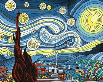 Cute Starry Night art illustration - 8x10 print