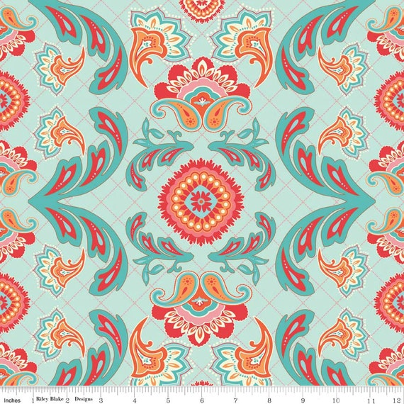 Floral Aqua And Orange Fabric Avignon By Riley By
