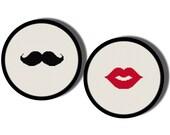 Mustache and Kiss Cross Stitch Pattern PDF