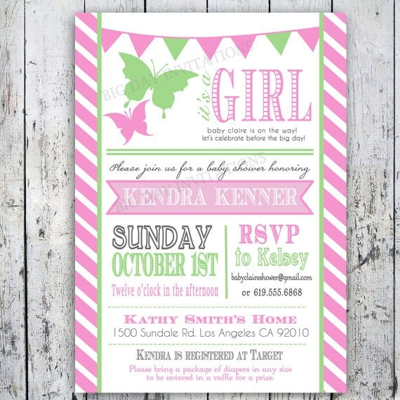 Butterfly Baby Shower Invites: Items Similar To Butterfly Baby Shower Invitation
