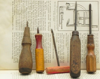5 vintage hand tools with wooden handles