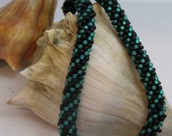 Crochet Aqua Twisted Necklace