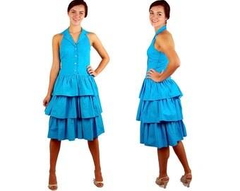 1980s dress, tiered ruffle dress, halter sundress, turquoise dress, bright blue dress, 80s sundress, Ned Gould, Size S