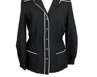 1970s jacket, black white, mod jacket, lightweight jacket, Size S/M