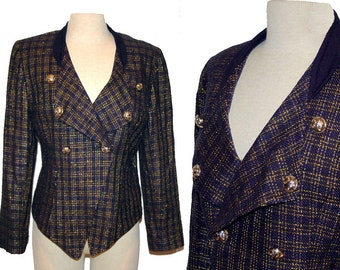 1980s military blazer, silk blazer, navy blue jacket, gold metallic, double breasted, Howard Wolf, Size 8