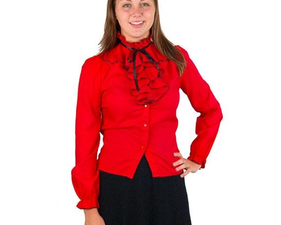 Vintage ruffled blouse, 1970s ruffled blouse, Secretary blouse, red black, high neck blouse, black, blouse with jabot, size Small