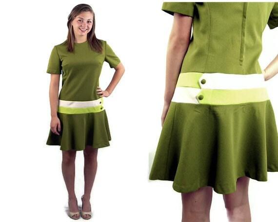 1960s drop waist dress, olive green dress, 60s day dress, Size L