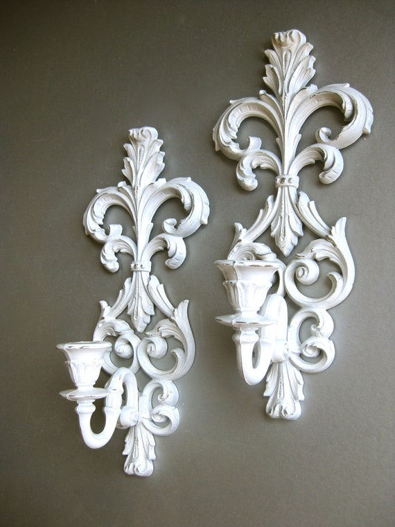 RESERVED for Koula Christi-Vintage White Sconces Candle