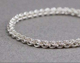 Sparkling Thin Sterling Bracelet 18g Jens Pind Handmade Rope like Chainmaille