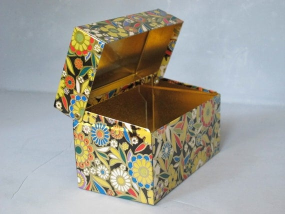 vintage tin recipe box decorative storage container metal canister floral design index card - Decorative File Boxes