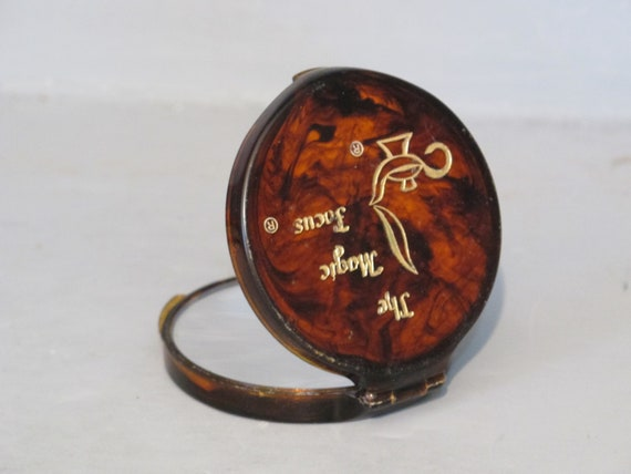 Vintage Faux Tortoiseshell Compact Mirror Handbag Purse
