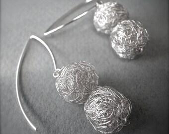 scribble earrings - 2small.ball.silver