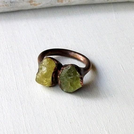 Copper Ring Garnet Ring Heliodor Gem Stone Green Apple Avocado Citrus Patina Raw Handmade Artisan