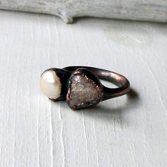 Pearl Ring Spinel Ring Gemstone Ring Rough Stone Ring Gem Cocktail Ring Birthstone Ring Heather Grey Organic Oxidized Handmade