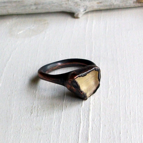 Copper Ring Scapolite Pale Straw Gold Crystal Gem Stone Natural Raw Patina Artisan
