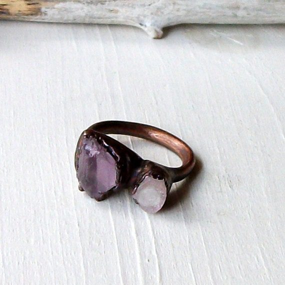 Copper Ring Amethyst Tourmaline Pale Grey Lavendar Gemstone February Birthstone Artisan Handmade
