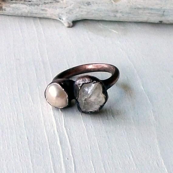 Crystal Pearl Copper Ring Raw GemStone Artisan Handmade