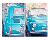 Vintage FIAT 500 historical and stylish italian car 5x7 blue photography italy prints italian design car