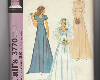 Vintage 70's Wedding sewing pattern.   Bride, Boho, Hippie, Prairie Dress. Bridal Gown with Train.   McCall's.  Misses Size 12.   No.  3770