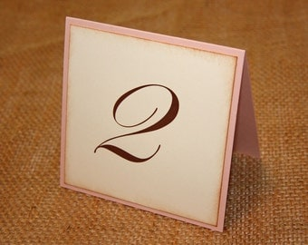 Wedding Table Number Cards - Blush