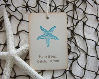 Turquoise Starfish Beach Wedding Tags - 100 Personalized