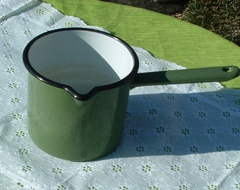 1960's Vintage Sauce Pot or Cooking Pot Green with Black Edge Porcelain Enamel White Interior
