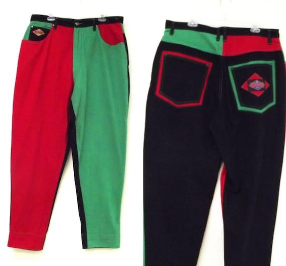 Items similar to 80s 90s Vintage Exhaust Cross Colours Style Hip Hop Baggy Jeans sz 38 L Green ...