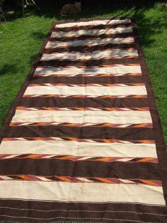 Big Brown and White 12 x 5 Wool Rug/Kilim/Carpet. Hand woven. Afghanistan.