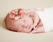 Baby Headband, Mauve Pink Headband, Newborn Girl Prop, Baby Photo Props, Skinny Headband, Toddler Prop, Dainty Flower, Pink Photo Prop