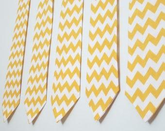 Mens Tie, Necktie in Yellow Chevron