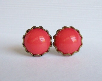 Salmon-Dark Coral Petite Post Earrings/Coral Stud Earrings/ Adorable collection By Marina y Teresa