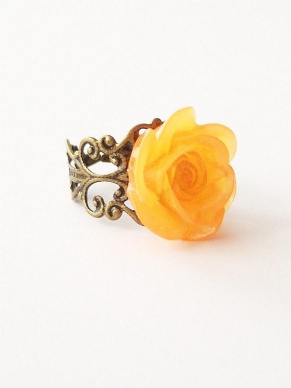 Tangerine Juice - Antique Brass Filigree Ring/Adjustable Brass Ring/Antiqued Brass Flower Ring