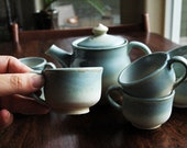 Child's Blue and Cream Stoneware Teaset