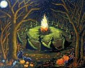 Modern Cross Stitch Pattern Halloween Bonfire - Halloween Counted Cross Stitch