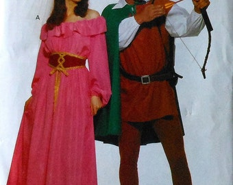 Robin Hood and Maid Marian Costume Sewing Pattern UNCUT Adult sizes XS-S-M Butterick 5749