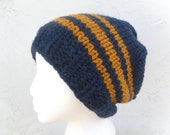 Striped Knitted Winter Wool Hat - Slightly Baggy Navy Blue and Gold Beanie - By Tejidos on Etsy
