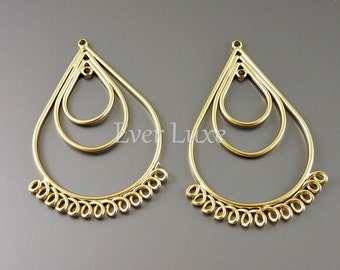1640-MG (2 pcs) Matte gold plated handmade triple tear drop with multi-loop pendants