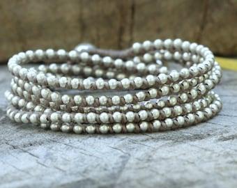 Mud Brown Silver Hip Double Wrap Bracelet