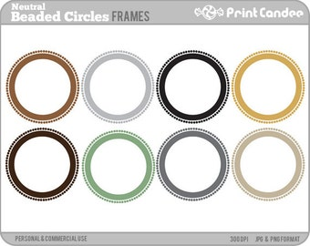 Neutral Beaded Circle Frames - Personal and Commercial Use - digital clipart frames clip art cute modern